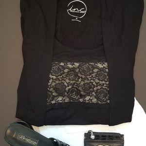 INC International Concepts Black & Lace Top XL